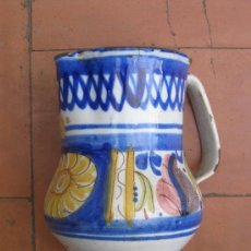 Antigüedades: JARÓN DE MANISES DE COLORES, 17'5 CM DE ALTURA POR 13 CM DE DIÁMETRO, FIRMADO FA. S. XIX. Lote 26578167