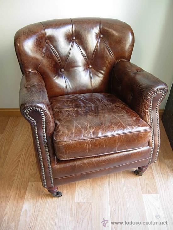 Precioso sillon chester de cuero o piel marro comprar for Sillones antiguos