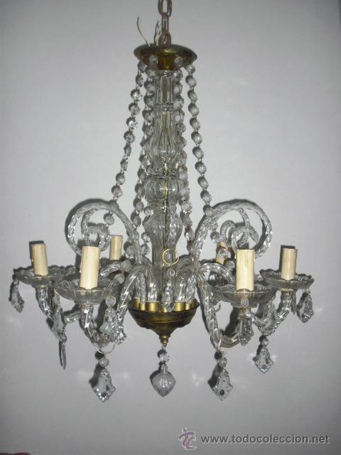Antigua lampara ara a toda en cristal hacia 19 comprar - Lamparas de arana antiguas ...