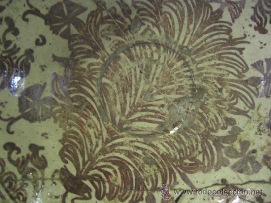 Antigüedades: Plato de Manises. Siglo XVIII. Reflejos metálicos. Serie Helechos - Foto 2 - 26713782