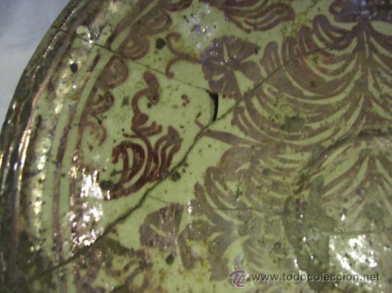 Antigüedades: Plato de Manises. Siglo XVIII. Reflejos metálicos. Serie Helechos - Foto 7 - 26713782