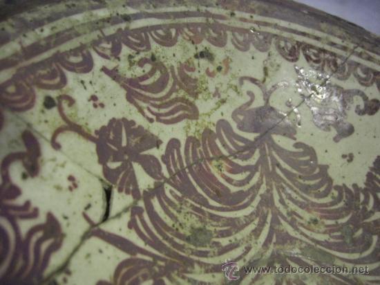 Antigüedades: Plato de Manises. Siglo XVIII. Reflejos metálicos. Serie Helechos - Foto 9 - 26713782