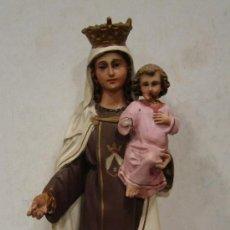 Antigüedades: VIRGEN DEL CARMEN DE CERAMICA CON NIÑO JESUS.. Lote 22634318