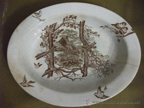 PLATA DECORADA MARRÓN (Antigüedades - Porcelanas y Cerámicas - San Claudio)