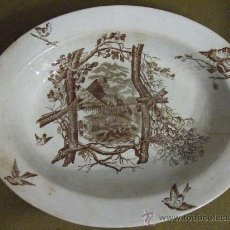 Antigüedades: PLATA DECORADA MARRÓN . Lote 27450404