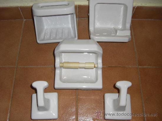 Lote completo de accesorios de ba o de cer mica comprar for Accesorios bano ceramica