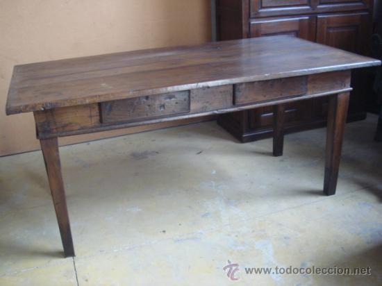Antigua mesa rustica de madera de casta o res comprar for Mesas antiguas rusticas