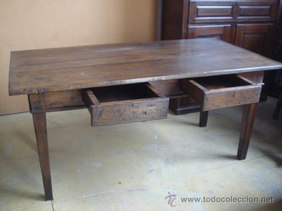 Antigua mesa rustica de madera de casta o res comprar for Mesa madera antigua