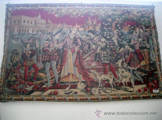 TAPIZ ANTIGUO ESPAÑOL CON CENA PALENCIANA (Antigüedades - Hogar y Decoración - Tapices Antiguos)