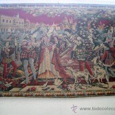 Antigüedades: TAPIZ ANTIGUO ESPAÑOL CON CENA PALENCIANA. Lote 22919126