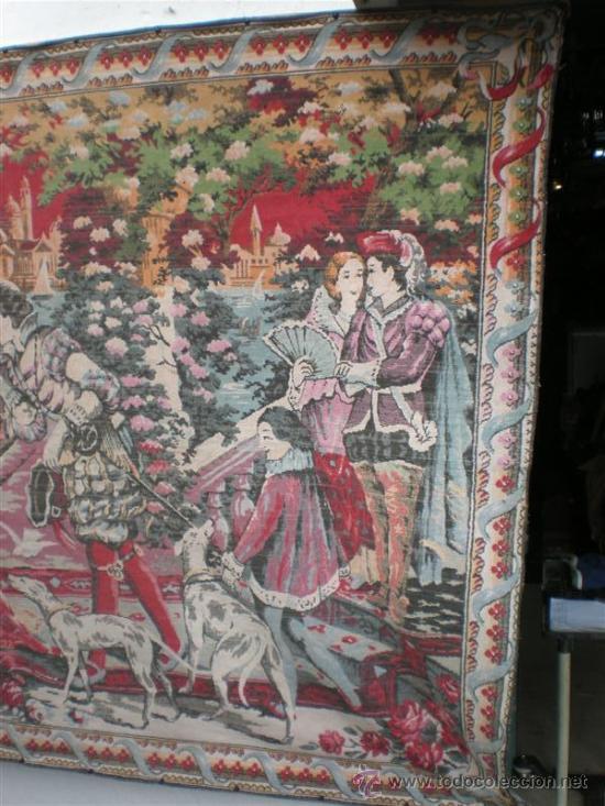Antigüedades: tapiz antiguo español con cena palenciana - Foto 3 - 22919126