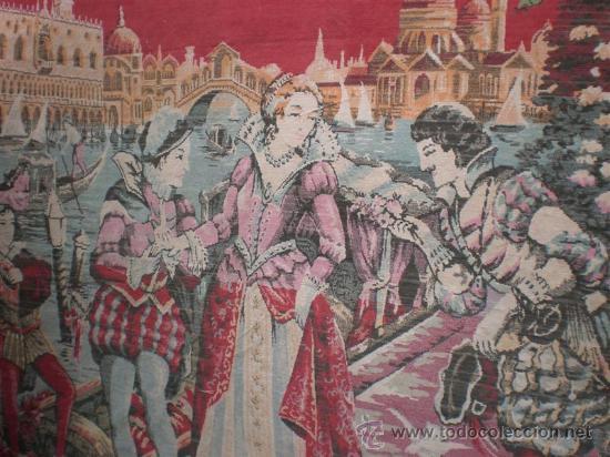Antigüedades: tapiz antiguo español con cena palenciana - Foto 5 - 22919126