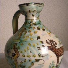 Antigüedades: ALCUZA O JARRA CERÁMICA PUENTE ARZOBISPO CON CIERVO Y ÁRBOLES PRICIPIOS S.XX. Lote 25250312