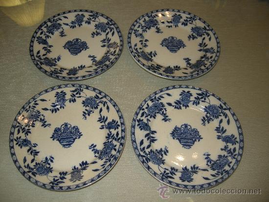 4 PRECIOSOS PLATOS EN CERAMICA (Antigüedades - Porcelanas y Cerámicas - San Juan de Aznalfarache)