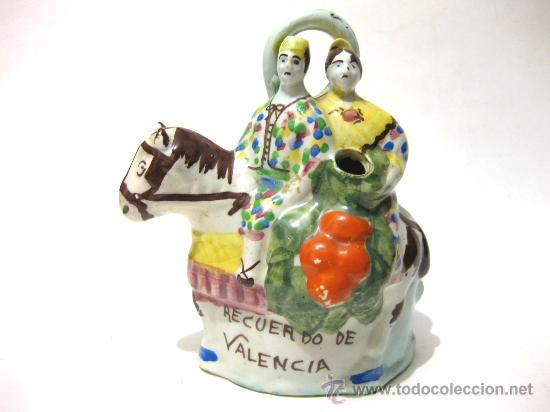 ANTIGUO BOTIJO RECUERDO DE VALENCIA - MANISES (Antigüedades - Porcelanas y Cerámicas - Manises)