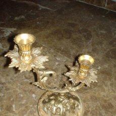 Antigüedades: CANDELABRO DORADO CON BASE DE MÁRMOL. Lote 27212165
