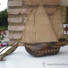 Antigüedades: LAMPARA DE PARED FORMA DE BARCO. Lote 23103069
