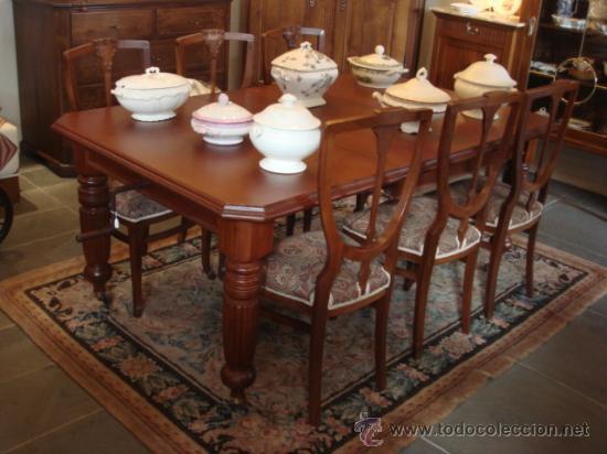 Antigua mesa inglesa de comedor en madera de c comprar for Mesas antiguas de madera