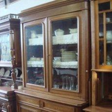 Antigüedades: ANTIGUA VITRINA O LIBRERIA EN MADERA DE ROBLE -RESTAURADA. Lote 27031173