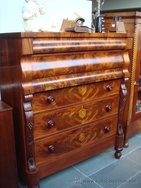 Antigua comoda inglesa en madera palma de caoba comprar - Comodas antiguas restauradas fotos ...