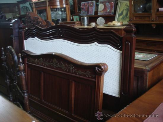 antiguo cabecero en madera de caoba-restaurado - Comprar Camas ...