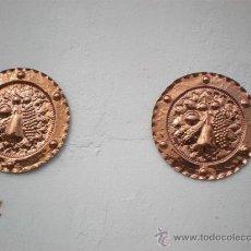 Antigüedades: PAREJA DE PLATOS DE COBRES. Lote 23231414