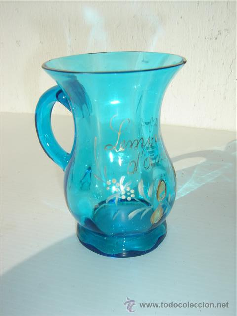 JARRA DE CRISTAL AZUL (Antigüedades - Cristal y Vidrio - Otros)