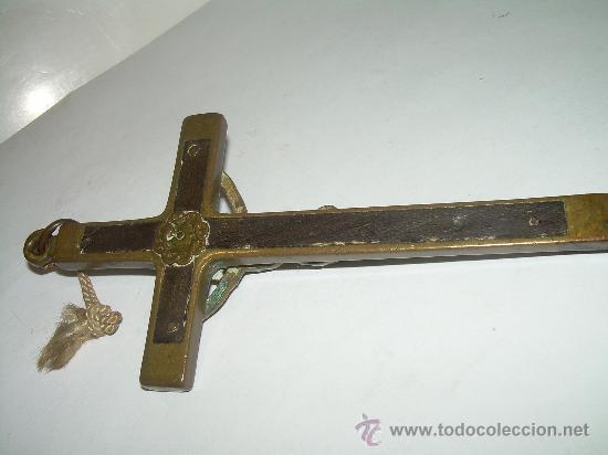 Antigüedades: ANTIGUA CRUZ DE BRONCE Y EBANO. - Foto 3 - 25362991