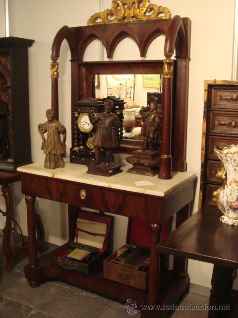 ANTIGUA CONSOLA IMPERIO EN MADERA DE CAOBA Y PAN DE ORO RESTAURADA (Antigüedades - Muebles Antiguos - Consolas Antiguas)