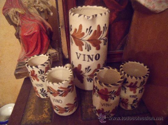 JUEGO DE VINO TALAVERA (Antigüedades - Porcelanas y Cerámicas - Talavera)
