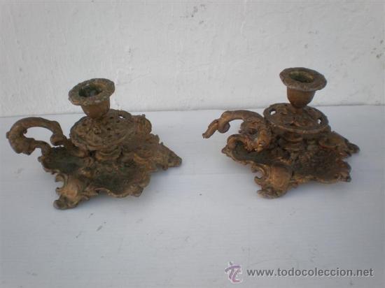 PALMATORIAS EN CALAMINA DORADOS (Antigüedades - Hogar y Decoración - Portavelas Antiguas)