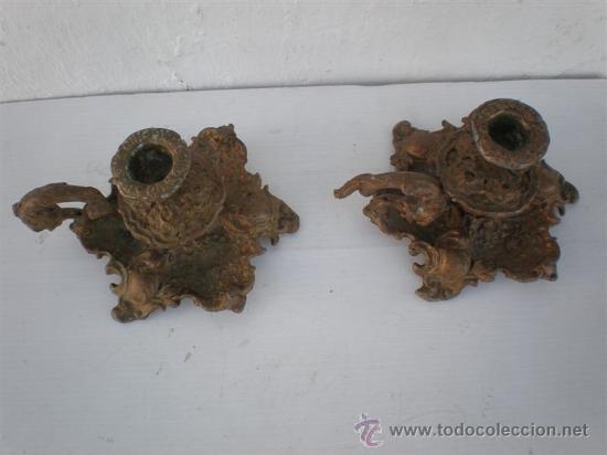 Antigüedades: palmatorias en calamina dorados - Foto 2 - 23782668