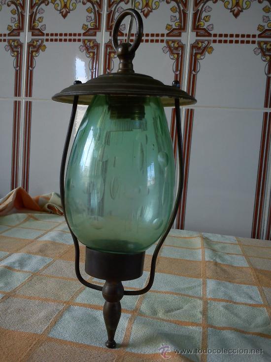 FAROL ANTIGUO DE BRONZE CON CRISTAL SOPLADO DE COLOR Y TALLADO (Antigüedades - Iluminación - Faroles Antiguos)