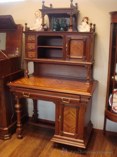 Antiguo mueble alfonsino de madera de caoba res comprar - Muebles antiguos de madera ...