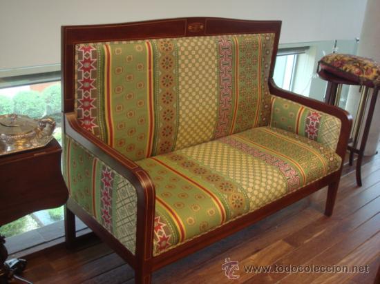 Antiguo sofa en madera de caoba y marqueteria comprar for Sofas antiguos