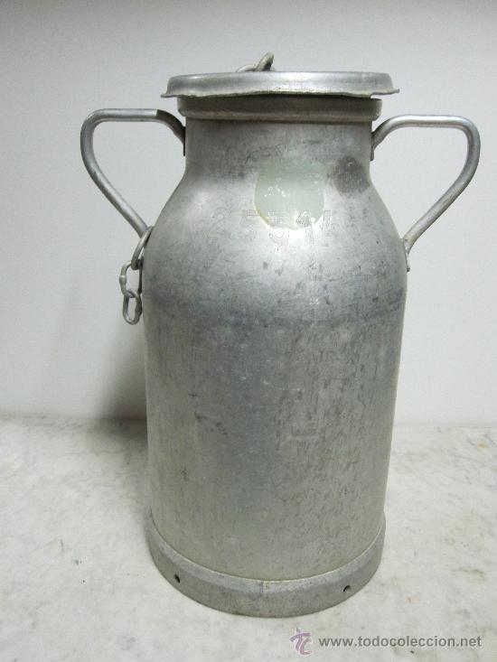 LECHERA DE ALUMINIO (Antigüedades - Técnicas - Rústicas - Ganadería)
