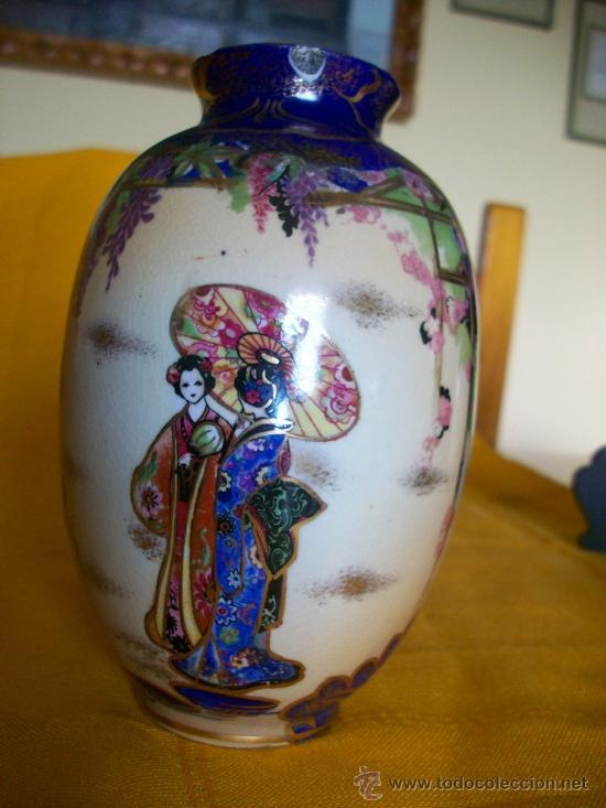 BELLEZA. JARRON FLORERO.3. TEMA ORIENTAL.CHINA O JAPON. GEISHAS. KIRALPO WARE. K & CO. ENGLAND (Antigüedades - Porcelanas y Cerámicas - China)