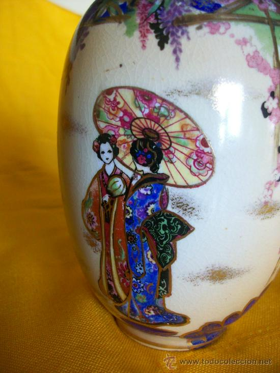 Antigüedades: BELLEZA. JARRON FLORERO.3. TEMA ORIENTAL.CHINA O JAPON. GEISHAS. KIRALPO WARE. K & Co. ENGLAND - Foto 2 - 26734067