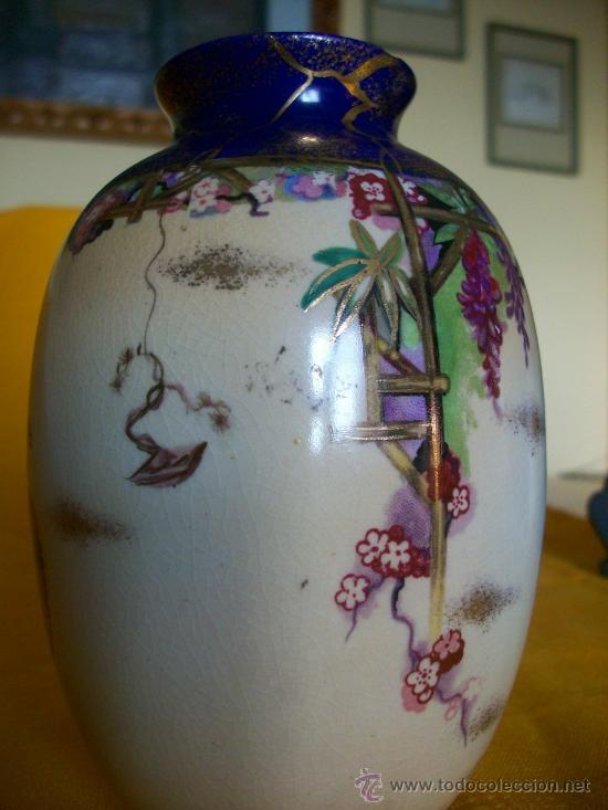 Antigüedades: BELLEZA. JARRON FLORERO.3. TEMA ORIENTAL.CHINA O JAPON. GEISHAS. KIRALPO WARE. K & Co. ENGLAND - Foto 6 - 26734067