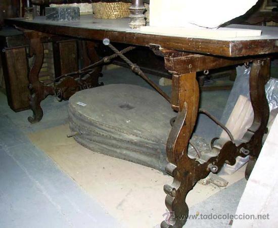 Mesa antigua de lira de madera de nogal espa o comprar for Mesa madera antigua