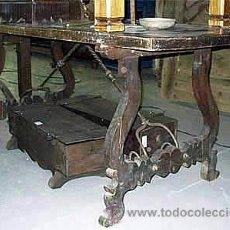 Antigüedades: MESA ANTIGUA DE LIRA, DE MADERA DE NOGAL ESPAÑOL. MEDIDA 200X0,85CM. S.XVII. Lote 27010633