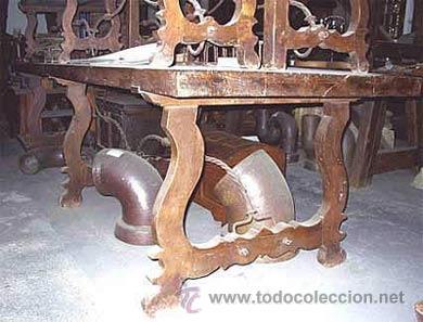 MESA DE LIRA CASTELLANA DE NOGAL ESPAÑOL Y CON 2 BANCOS A JUEGO. MEDIDA 310X0.96X CM (Antigüedades - Muebles Antiguos - Mesas de Despacho Antiguos)