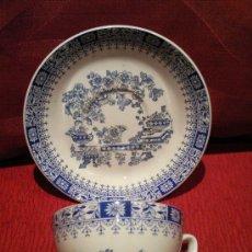 Antigüedades: TAZA Y PLATO DE CAFE PONTESA CHINA BLAU. Lote 33156392