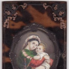 Antigüedades: TAPA DE MISAL ,MINIATURA RELIGIOSA MADONA PINTADA A MANO SOBRE MARFIL.CIRCA 1868.. Lote 26989558