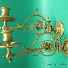 Antiques - AUTENTICA PAREJA DE CANDELABROS DE PIANO, EN BRONCE DORADO. FF.SG.XIX. MOVILES. 24 CM. - 52823107