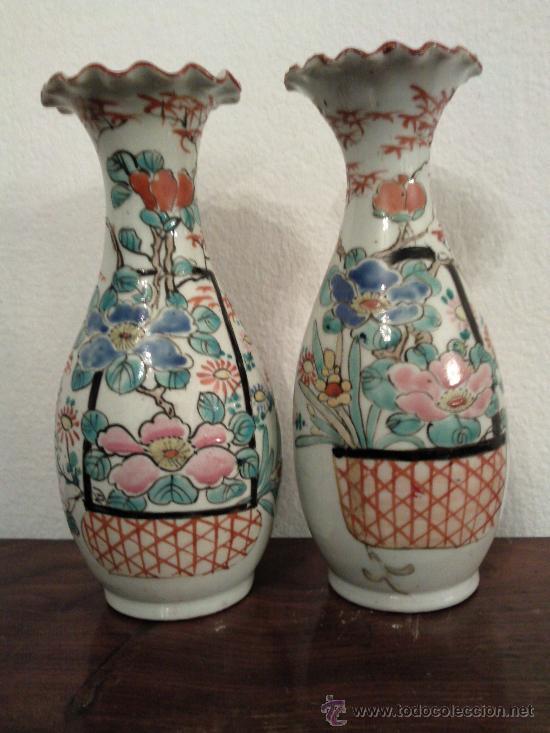 Antigüedades: Antigua pareja de jarrones Chinos de porcelana pintados a mano - Foto 5 - 27011768