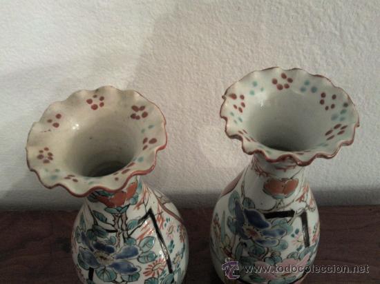 Antigüedades: Antigua pareja de jarrones Chinos de porcelana pintados a mano - Foto 8 - 27011768