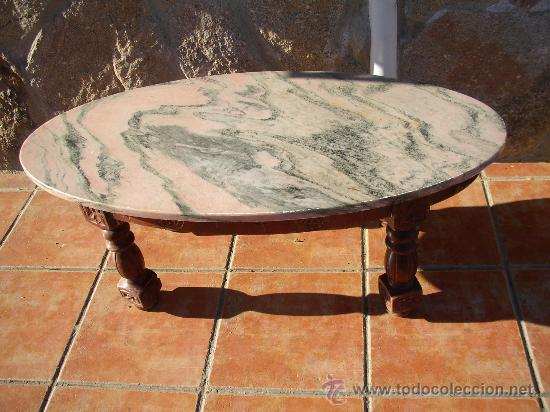 Antigua mesa de centro ovalada con tapa de m rm vendido for Mesas de centro antiguas