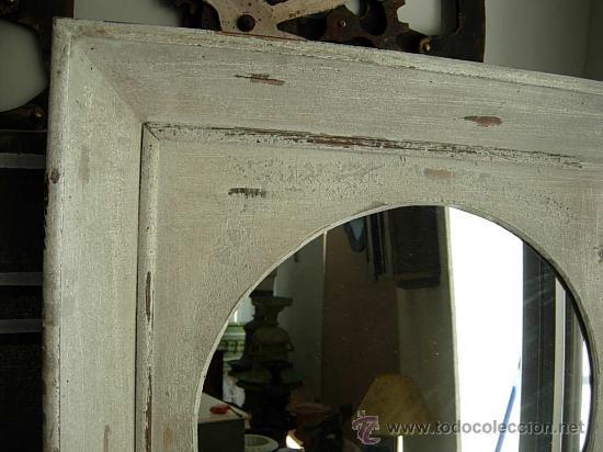 Antigüedades: ESPEJO DE MADERA CUADRADO HECHO EN DECAPE - Foto 2 - 27183360