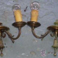 Antigüedades: PAREJA DE APLIQUES .. DE BRONCE TIENEN RESTOS DE PINTURA VERDE. Lote 24335730